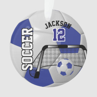 Dark Blue and White Personalize Soccer Ball Ornament
