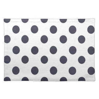 Dark Blue and White Polkadots Placemat