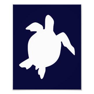 Dark Blue and White Sea Turtle Vertical B Photographic Print