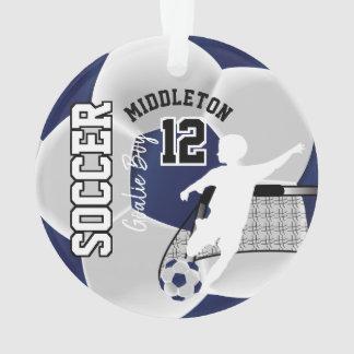 Dark Blue and White Soccer Goalie Boy Ornament
