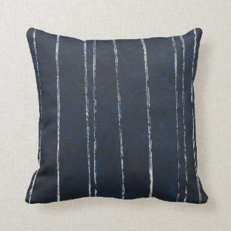 Dark blue and white stripe pattern cushion