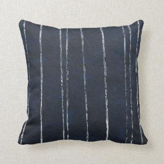 Dark blue and white stripe pattern throw pillow