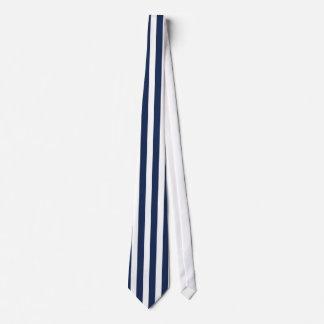 Dark Blue and White Vertically-Striped Tie