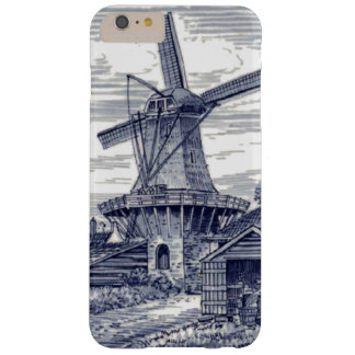 Dark Blue Antique Delft Blue Dutch Windmill Barely There iPhone 6 Plus Case
