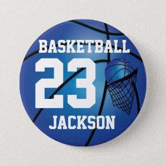 Dark Blue Basketball and Hoop | DIY Text 7.5 Cm Round Badge