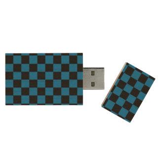 Dark blue black checkers wood USB 2.0 flash drive