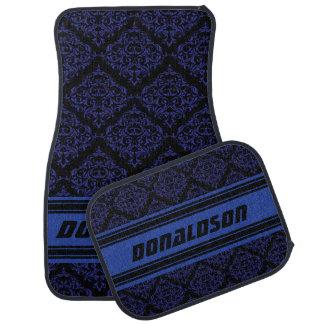 Dark Blue & Black Damask | Personalize Floor Mat