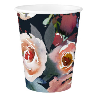 Dark Blue & Blush Pink Pastel Floral Wedding Party Paper Cup