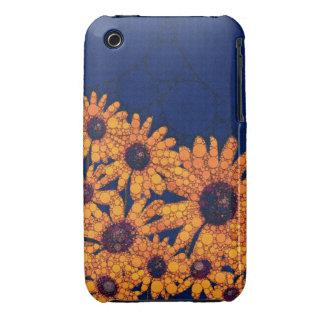 Dark Blue Bright Orange Sunflowers Case-Mate iPhone 3 Cases