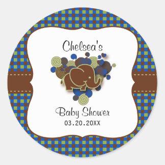 Dark Blue & Brown Baby Elephant | Baby Shower Classic Round Sticker