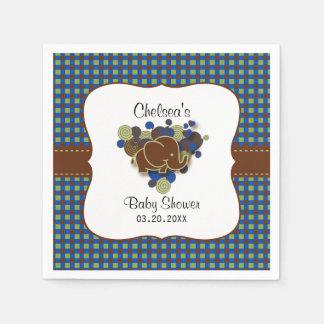 Dark Blue & Brown Baby Elephant | Baby Shower Paper Serviettes