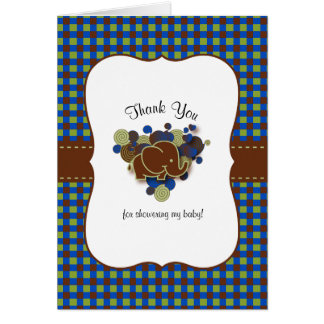 Dark Blue & Brown Baby Elephant | Thank You Card