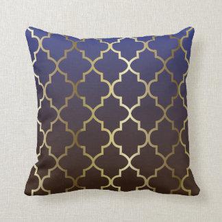 Dark Blue & Brown Blend | Gold Quatrefoil Pattern Cushion