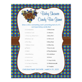 Dark Blue & Brown Elephant Baby Boy Shower Game Flyer