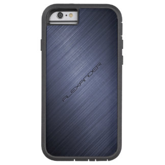 Dark Blue Brushed Aluminum Metal Look 2-Monogram Tough Xtreme iPhone 6 Case