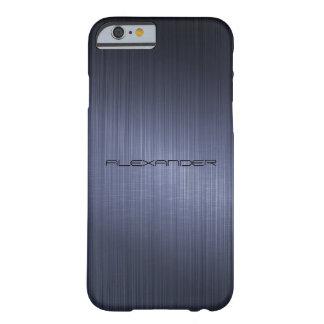 Dark Blue Brushed Aluminum Metal Look-Monogram Barely There iPhone 6 Case