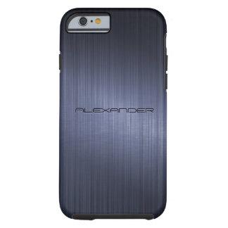 Dark Blue Brushed Aluminum Metal Look-Monogram Tough iPhone 6 Case