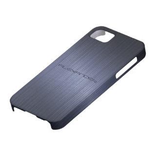 Dark Blue Brushed Aluminum Metal Look-Monogram iPhone 5 Cases