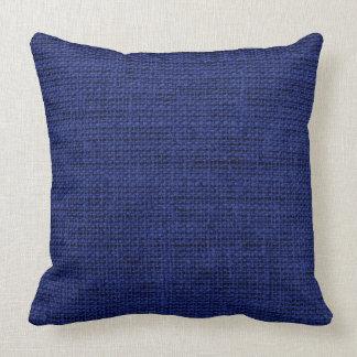 Dark Blue Burlap Linen Rustic Jute Cushion