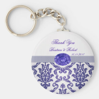 Dark blue Damask, gemstone picture Keychain