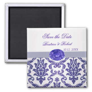 Dark blue Damask, gemstone picture Save the date Square Magnet