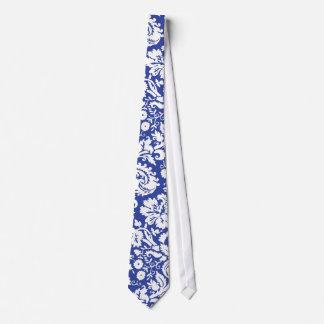 Dark blue damask pattern tie