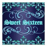 Dark Blue Damask Print Sweet 16 Birthday Invite