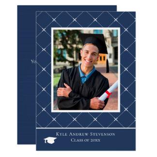 Dark Blue Diamond Pattern Graduation Photo Card