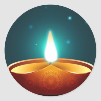 Dark Blue Diwali Candlelight Classic Round Sticker