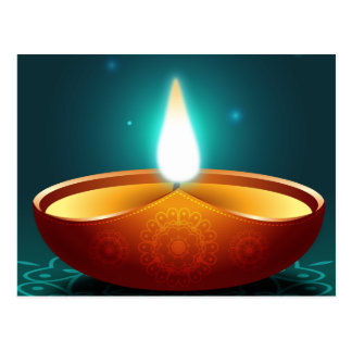Dark Blue Diwali Candlelight Postcard