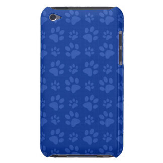 Dark blue dog paw print pattern barely there iPod case