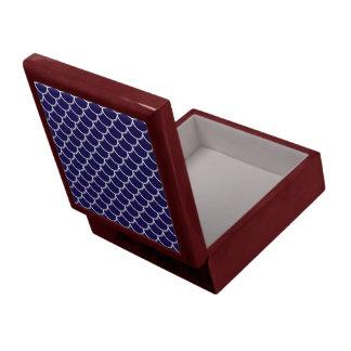 Dark Blue Dragon Scales Large Square Gift Box