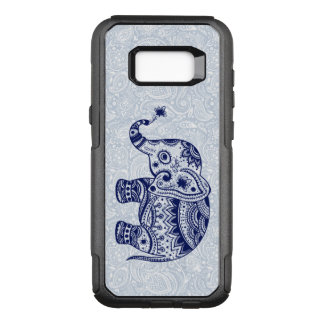 Dark Blue Elephant Tribal Floral Illustration OtterBox Commuter Samsung Galaxy S8+ Case