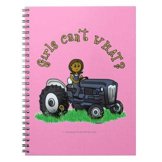 Dark Blue Farmer Girl Spiral Notebook