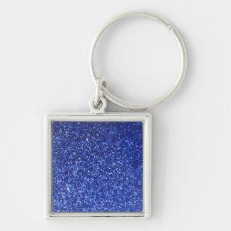 Dark blue faux glitter graphic keychain