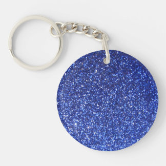Dark blue faux glitter graphic Double-Sided round acrylic keychain