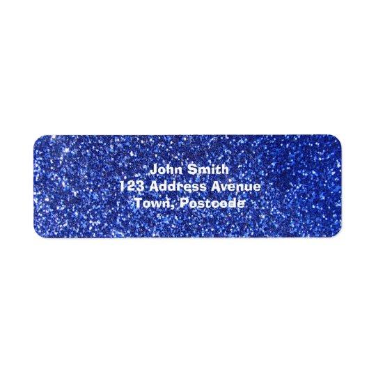 Dark blue faux glitter graphic return address label