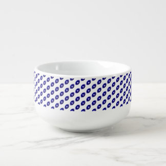 Dark Blue Football Pattern Soup Mug