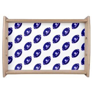Dark Blue Football Pattern Service Tray
