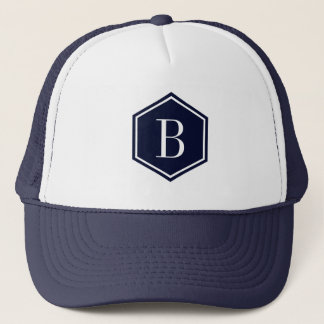 Dark-Blue Geometric octagon Monogram Trucker Hat