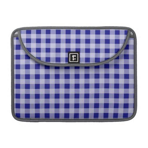 Dark Blue Gingham MacBook Pro Sleeves