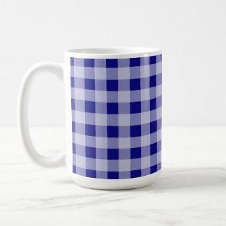 Dark Blue Gingham Coffee Mugs