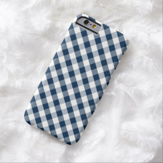 Dark Blue Gingham Pattern Barely There iPhone 6 Case