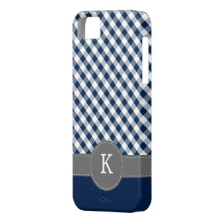 Dark Blue Gingham Pattern Custom Monogram Barely There iPhone 5 Case