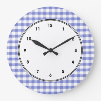 Dark blue gingham pattern large clock
