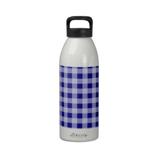 Dark Blue Gingham Drinking Bottles