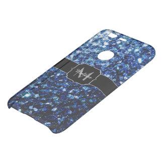 Dark Blue glitter sparkles Monogram Uncommon Google Pixel Case