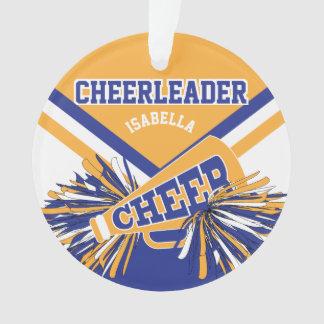 Dark Blue, Gold and White Cheerleader Ornament