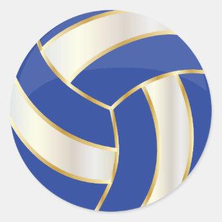 Dark Blue, Gold and White Volleyball Round Sticker