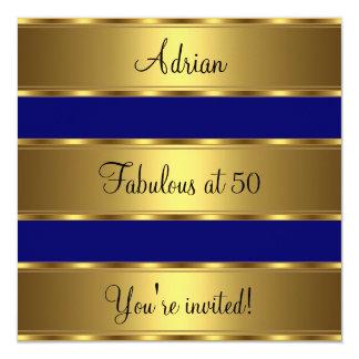 Dark Blue & Gold Fabulous 50th Birthday Party Card